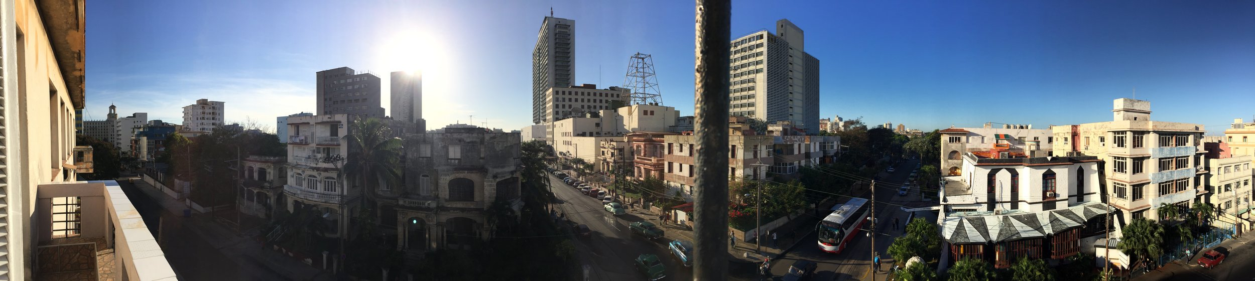 A panorama of Havana as seen from the balcony of our room in Vedado.