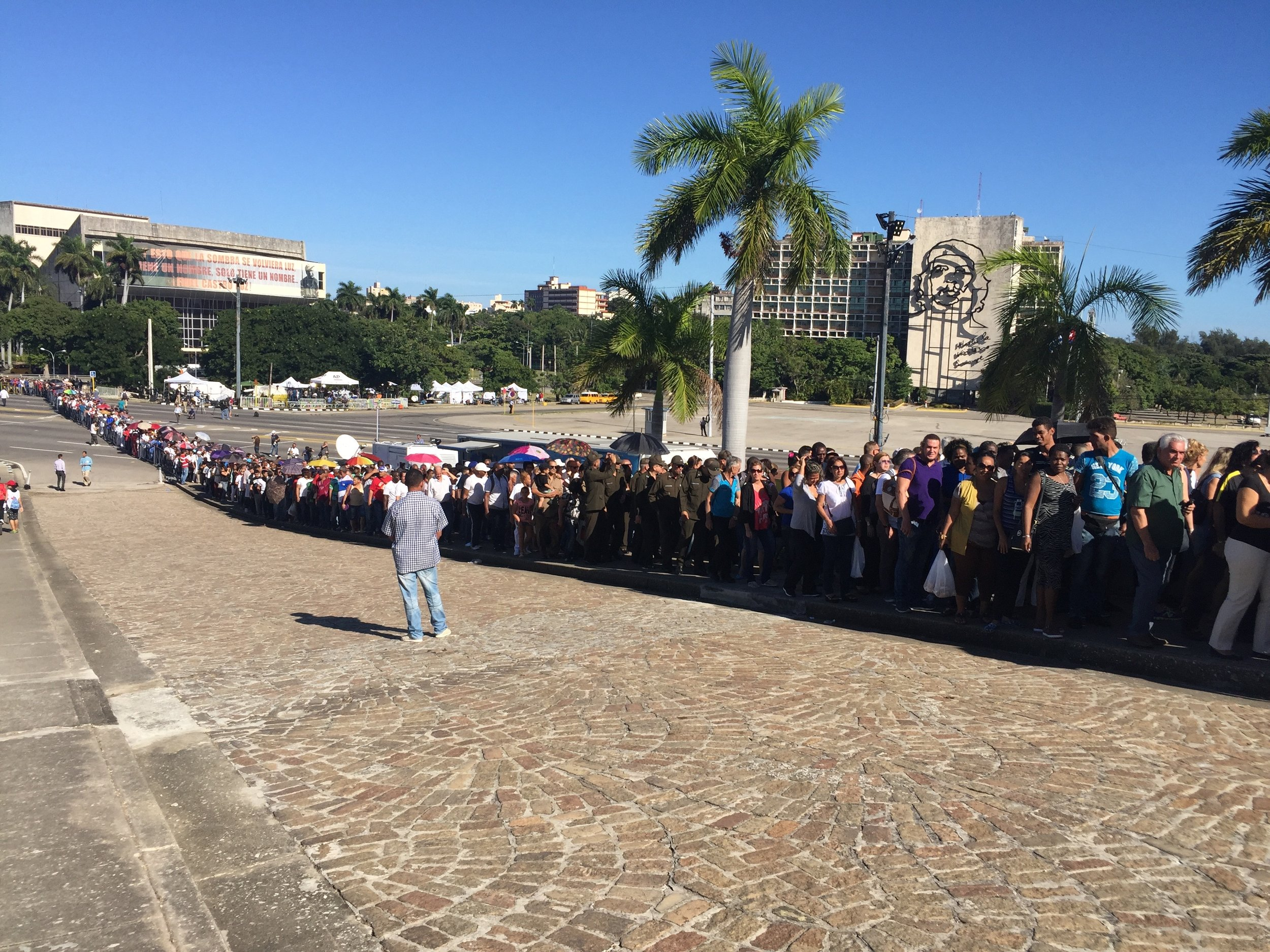 Part of the line waiting to pay respects to Fidel at Havana's Plaza de la Revolución.