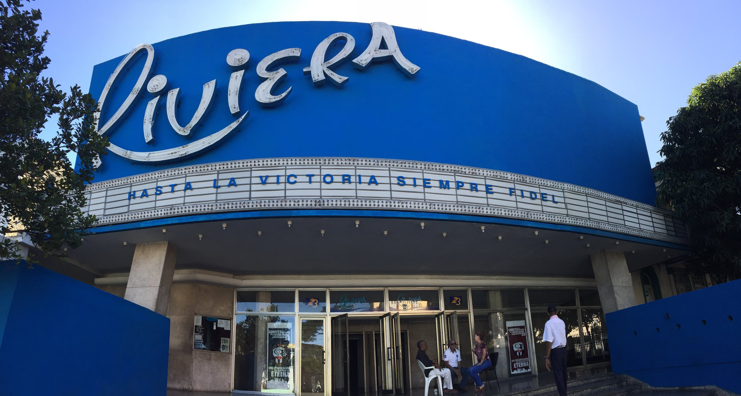 "Public tributes to Fidel were relatively subdued in Havana; aside from the turnout at the Plaza de la Revolución, the occasional storefront marquee was the only indication that Castro had died. At this cinema: ""Hasta la victoria siempre Fidel"" (To victory always, Fidel.)"