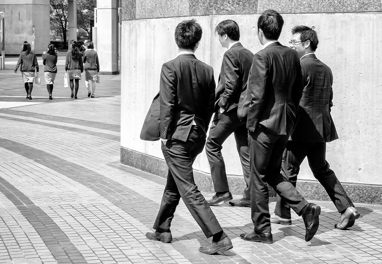 Four Men Following Four Women, Osaka, Japan, 2014