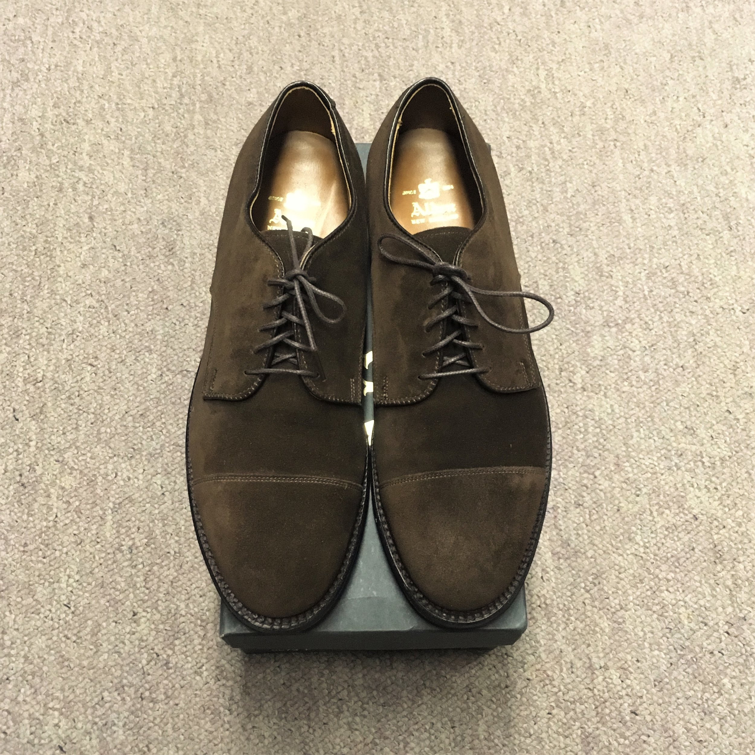 #9573f - Copley LastDark Brown Suede - Straight Tip Blucher - Flex Welt Leather SoleDiscontinued ModelLAST PAIR SIZE 10 DMSRP $563Contact us for Pricing and Availability