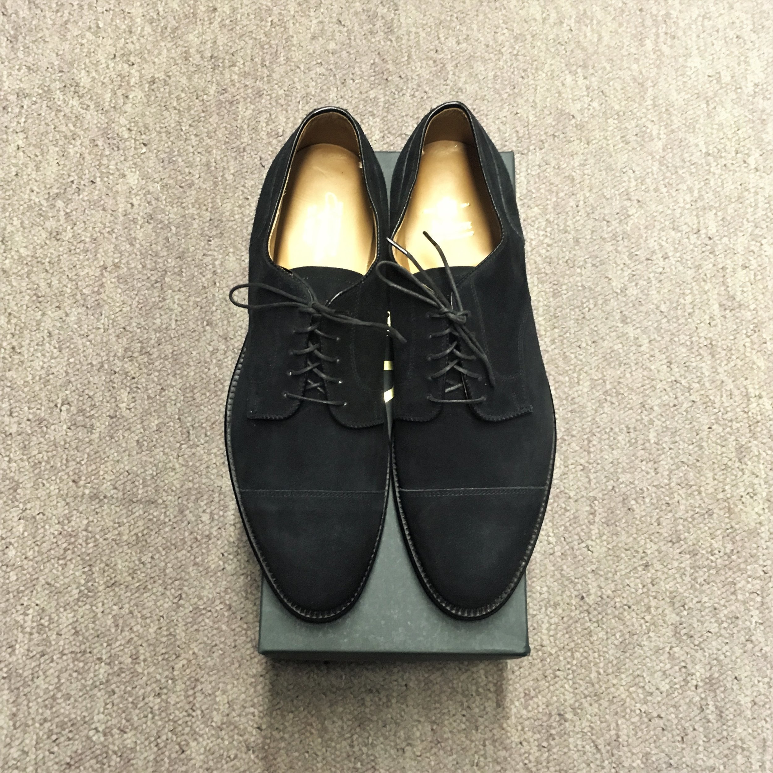 #2183 - Aberdeen LastBlack Smoke Suede - Straight Tip Blucher - Doublet Leather SoleCustom ModelLAST PAIR! SIZES 10 EEEMSRP $569Contact us for Pricing and Availability