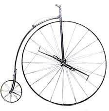 "1870 - Ariel Ordinary  Two speed gears, 48"""" front wheel Patented spoke tension hubs Lightweight all steel construction"