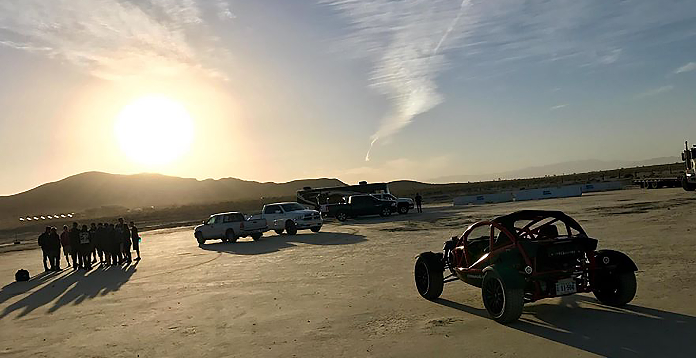 -On set with the Grand Tour at the El Mirage dry lake beds with the Ariel Nomad Sport