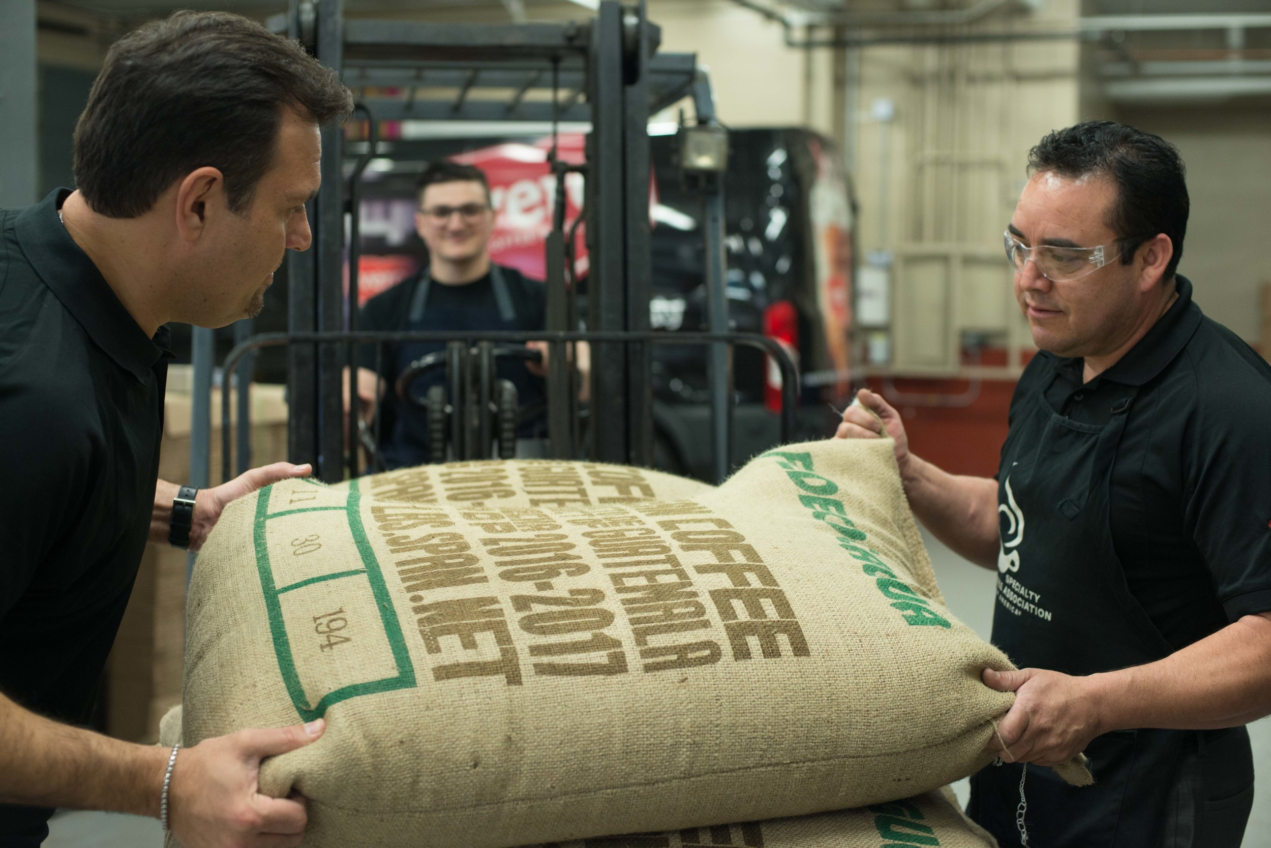 Unloading coffee beans from around the world.
