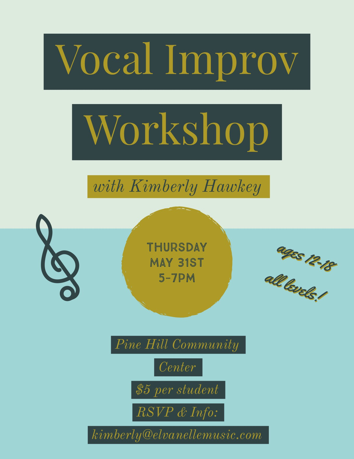 5/31 - A new workshop at the Pine Hill Community Center! Open to all young musicians who want to learn how to create a fully-improvised group song using rhythm, harmony and melody!