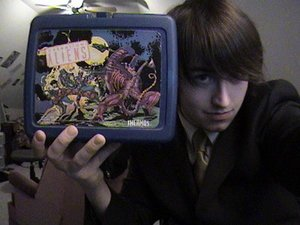 High school Anthony with his Aliens lunchbox