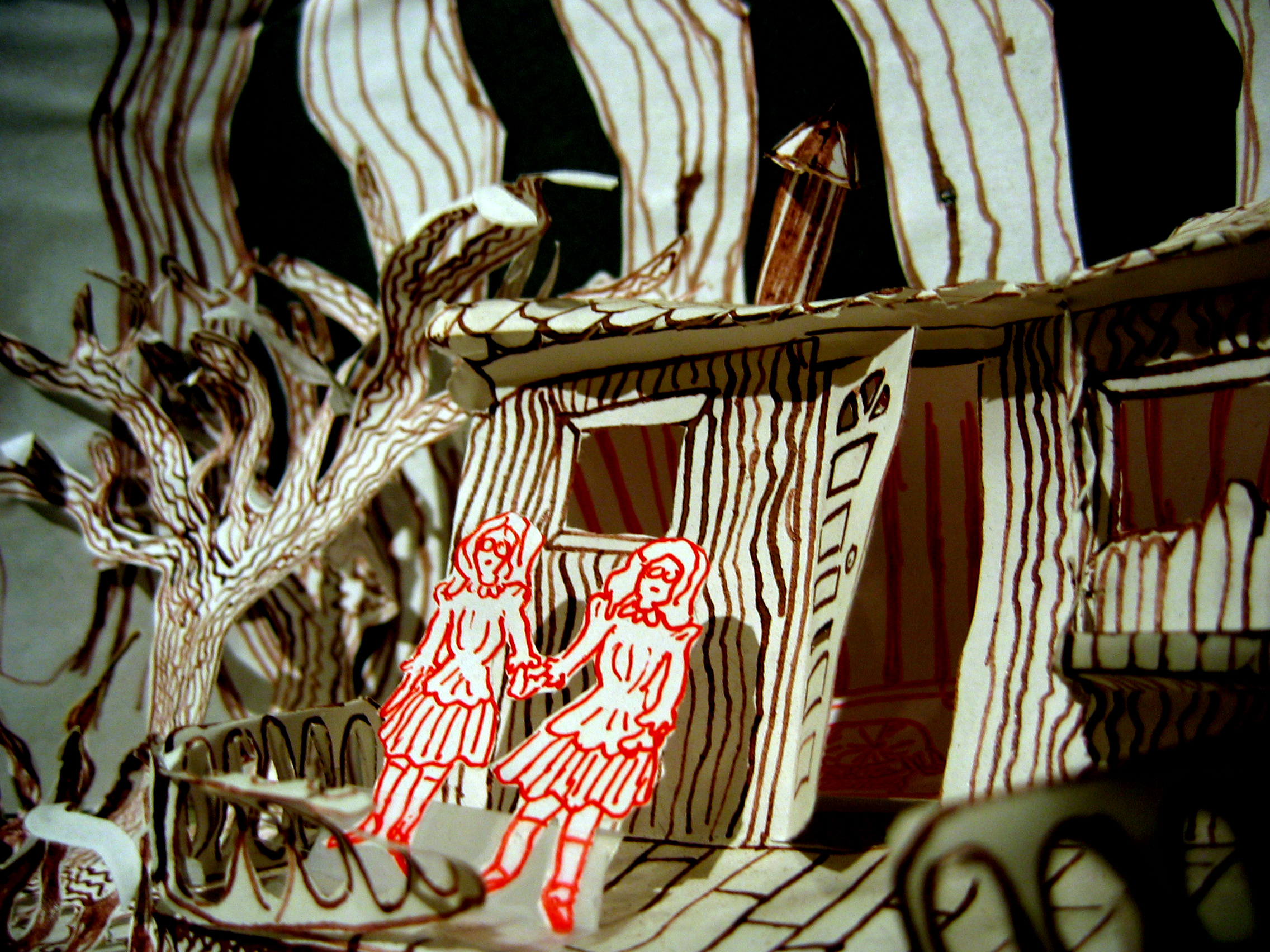 photo by Andy Lachance of a diorama from 2005's TEA WITH THE TWINS by Normandy Sherwood and Jenny Seastone