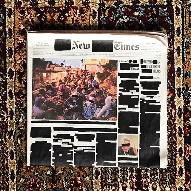 "Thursday February 21, 2019. . ""Climate A Threat."" ""Stressed as Wall Street Breaks Billions."" ""Untitled."" . . . . #erasurepoetry  #blackoutpoetry #newyorktimes #nytimes #poetry #poetryofinstagram #politics #makeblackoutpoetry #foundpoetry #climatechange #politicalart #Artactivism #artnyc #nycart"