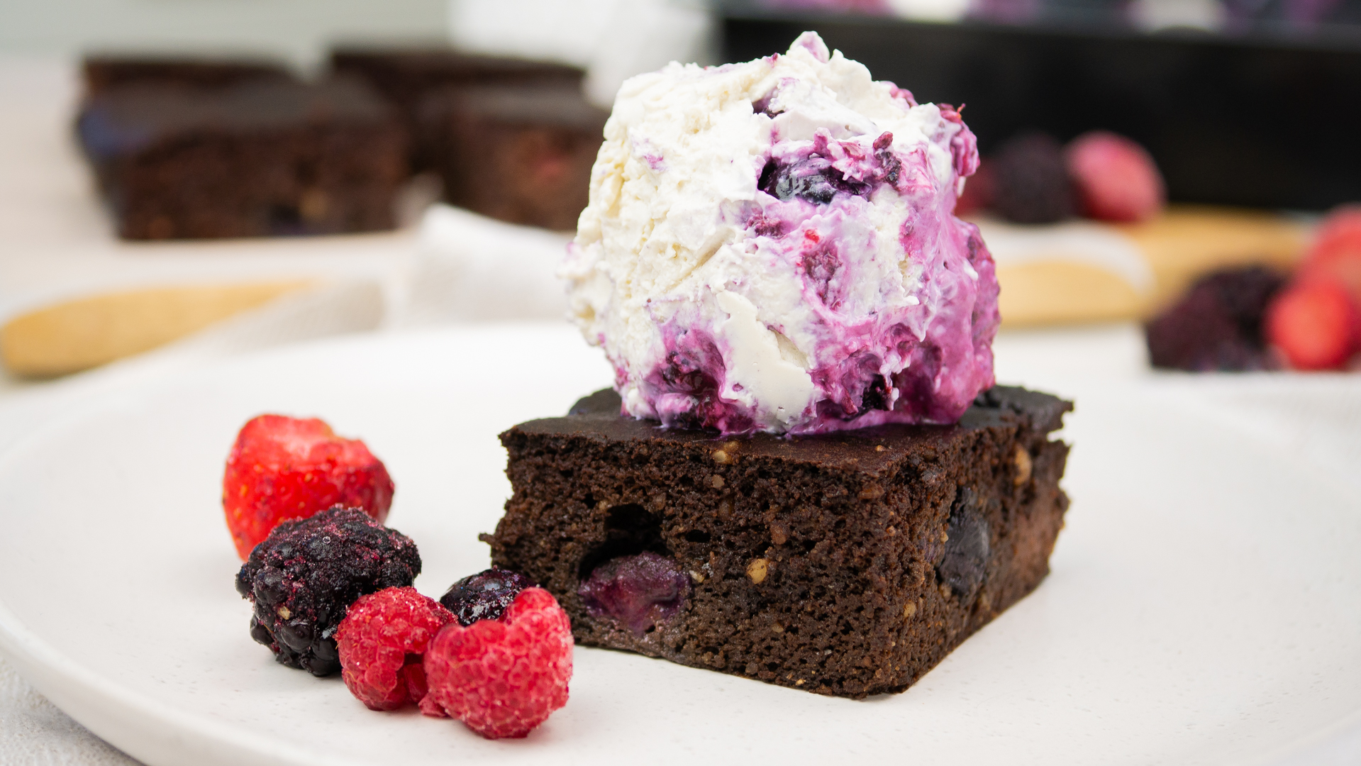 Chocolate & Berry Brownie topped with Coconut & Berry Ice Cream
