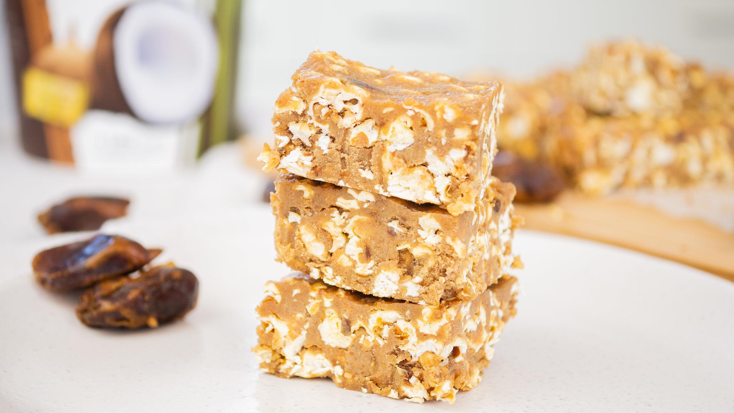 Peanut Butter & Caramel Popcorn Slice