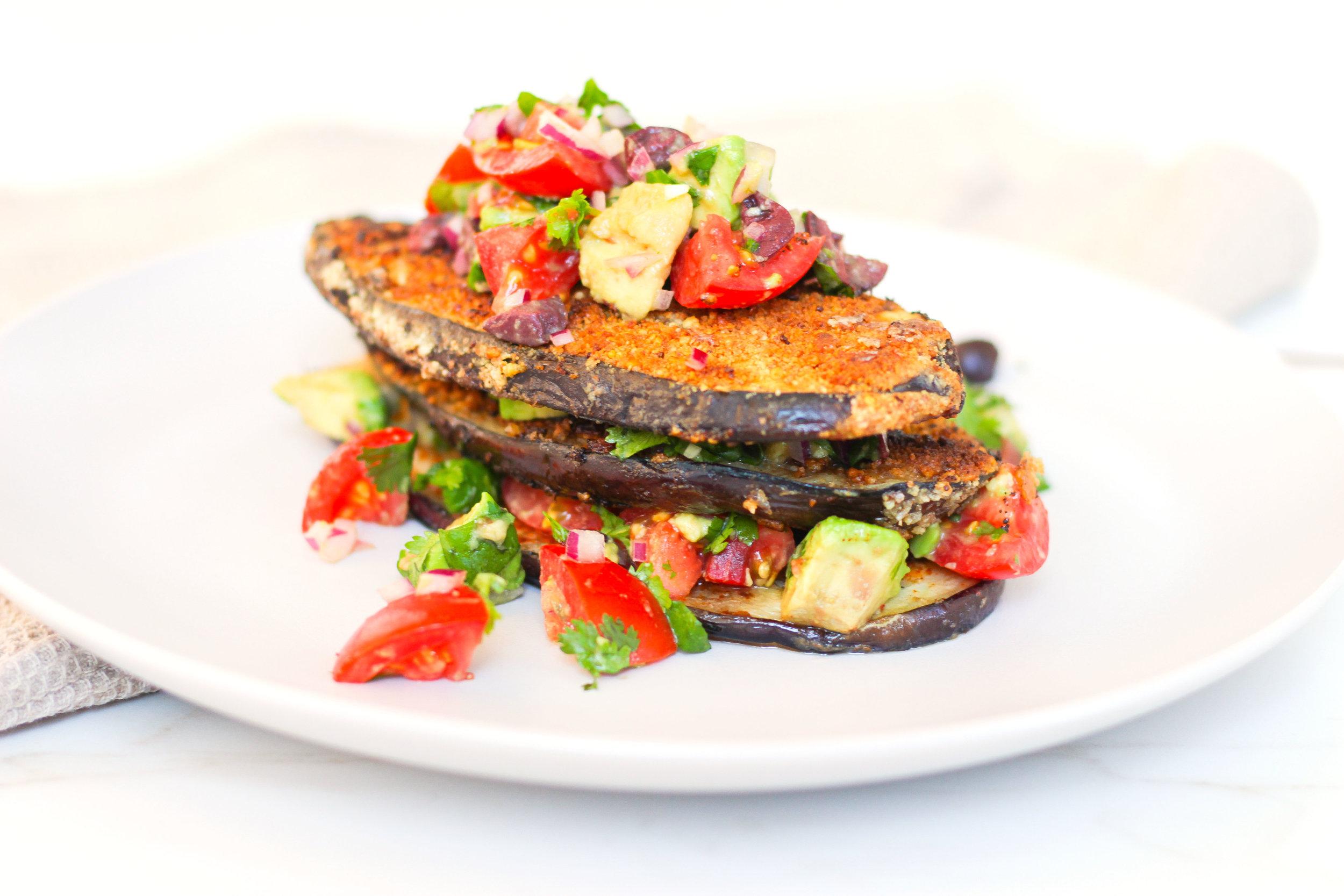 Crispy Eggplant with Avocado & Tomato Salsa