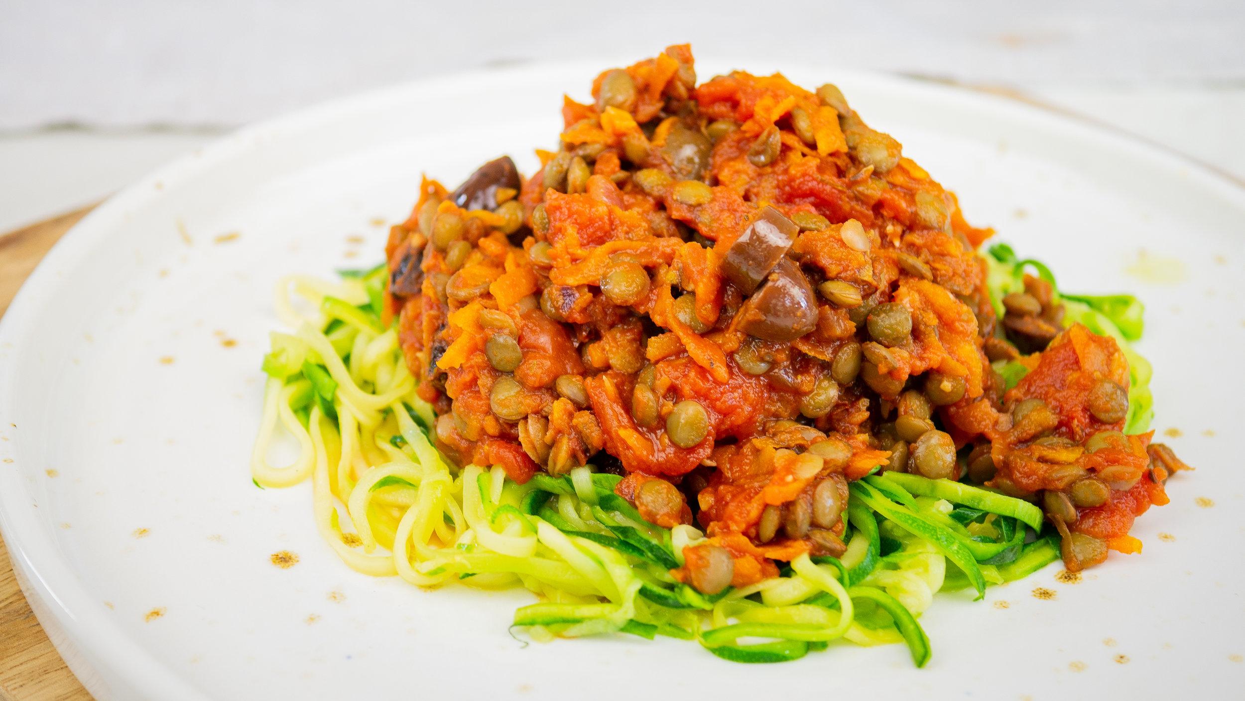 Lentil Bolognese with Zucchini Noodles