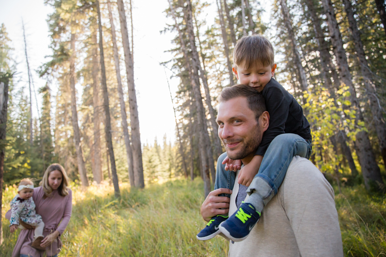 family photography, together in the forest, Griffith woods.