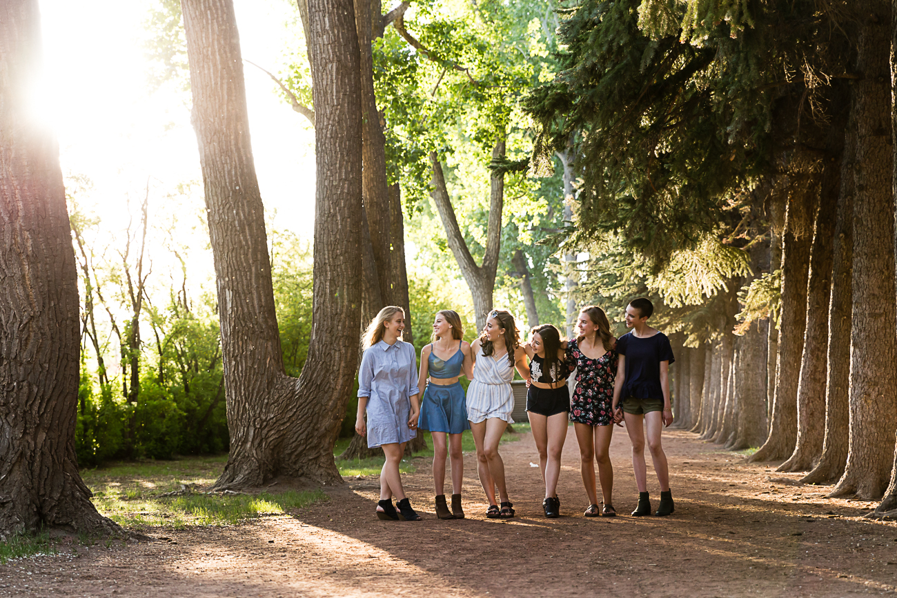 6 girls in the light by the trees