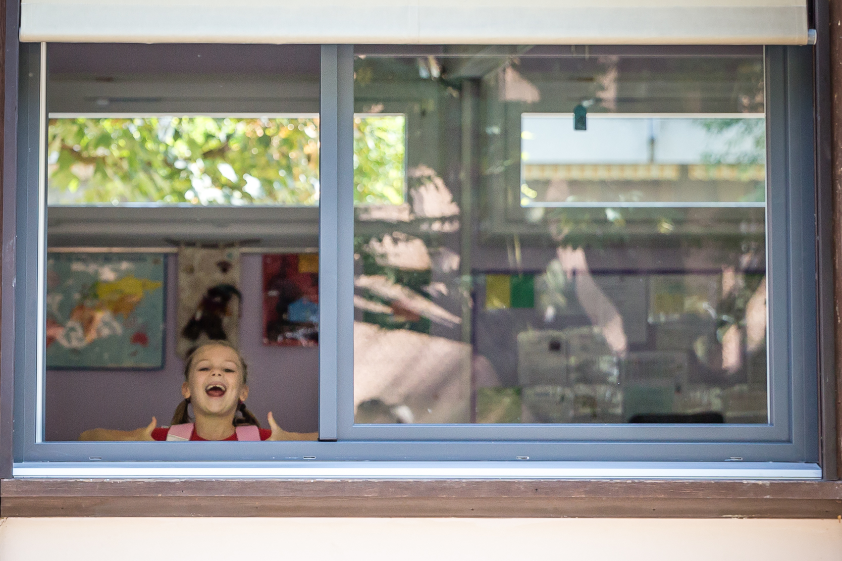 The windows open wide to the outdoors - fresh air always plentiful - it's an old school with brand spankin' new windows!