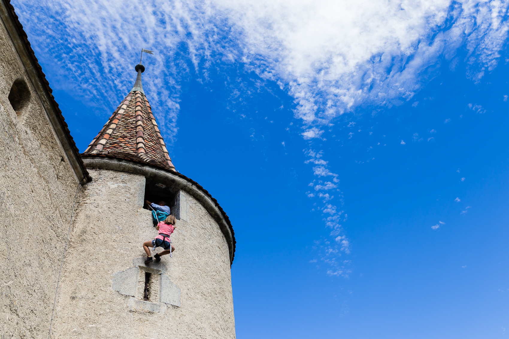 With not one moment of hesitation, she clipped herself onto the end of the rope ready to pull a rapunzel move all the way down the castle wall.
