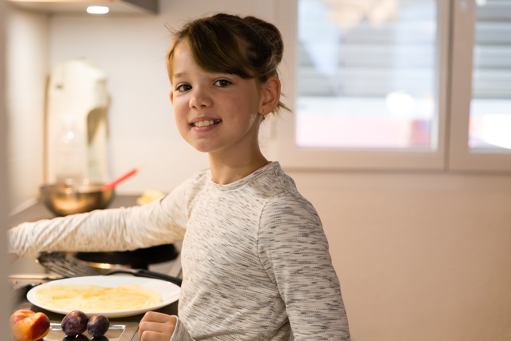 school mornings and they start getting up on their own - a morning of crepes and fresh fruit a must for the busy day ahead.