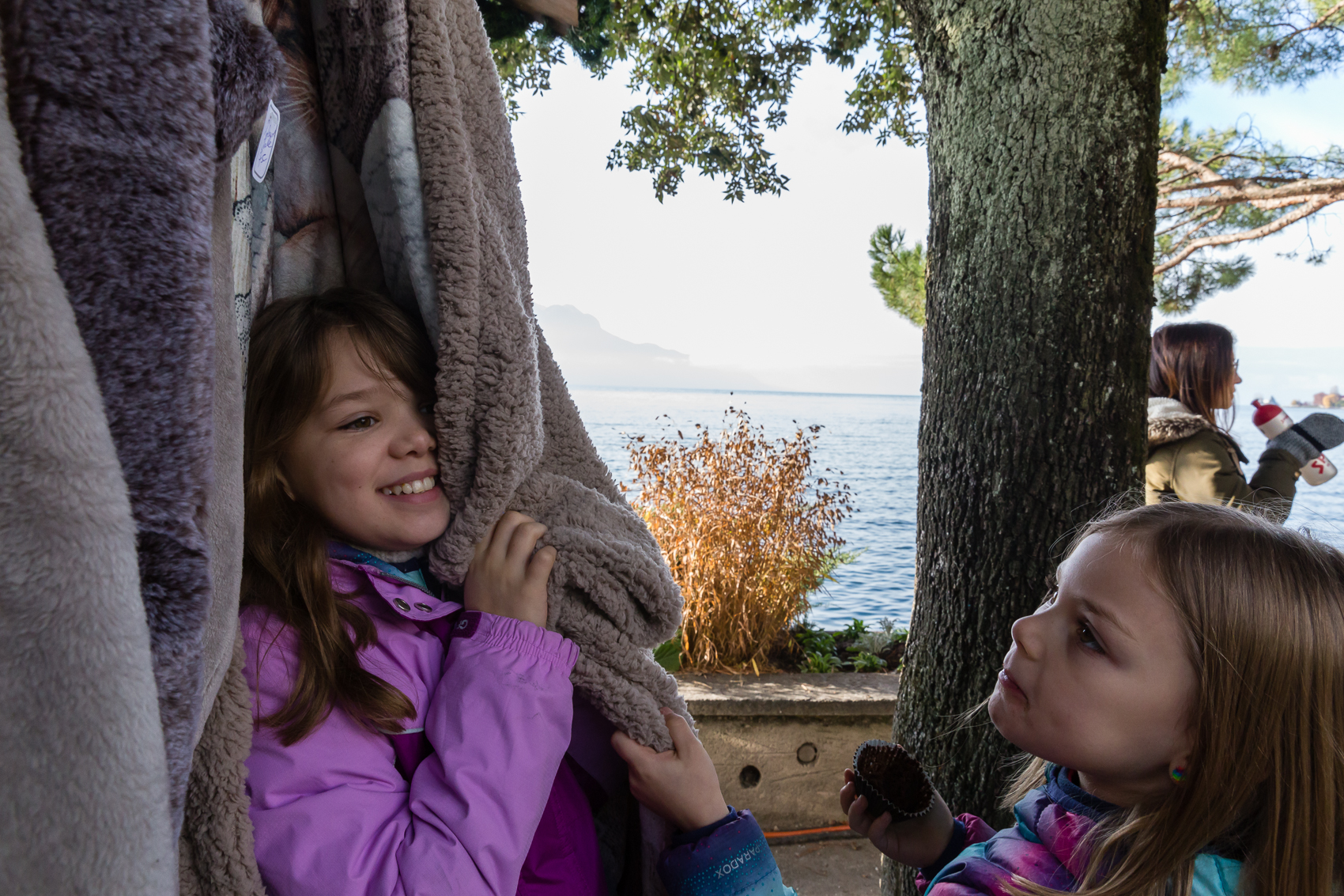 it is soooo soft mama! Lake Geneva in the background, and leaves on the trees still. It's winter here…kind of!