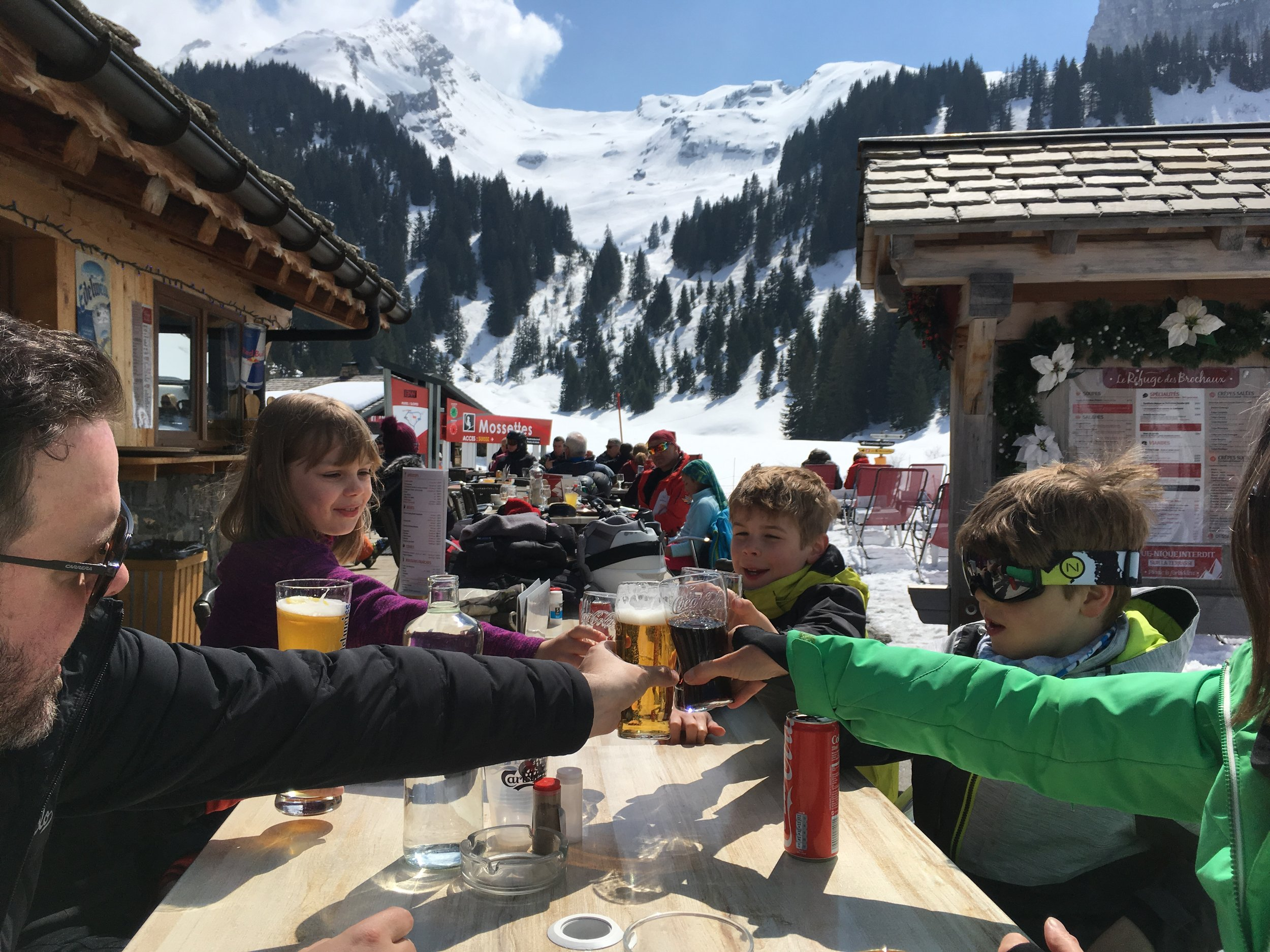 Yes…Let's! Cooked lunch on a patio in the sun before we get on the lift to get back to our country. This side of the chair lift…euros because we are in France. The other side of the lift…Swiss francs because you guessed it.