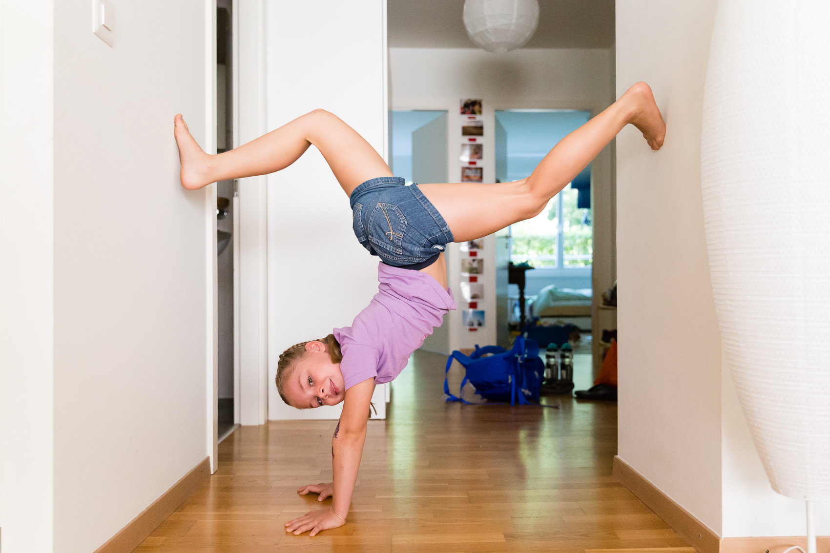 A little light stretching before we walk to school.
