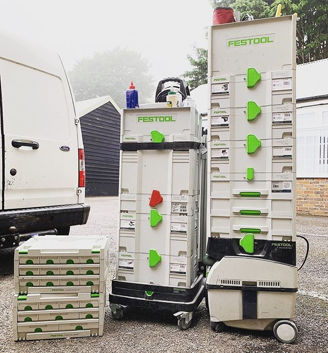 @soperswoodwork  Loading up a wardrobe and tools for today's fitting!! What three tools/items are a must have in your tool box when out fitting? . @soperswoodwork . #festoolme #festool #tools #fittingday #toolbox #musthave #carpenter #joinery #workshop #wardrobe #dressingroom #dewalt #uscribejig #morrels #woodwork