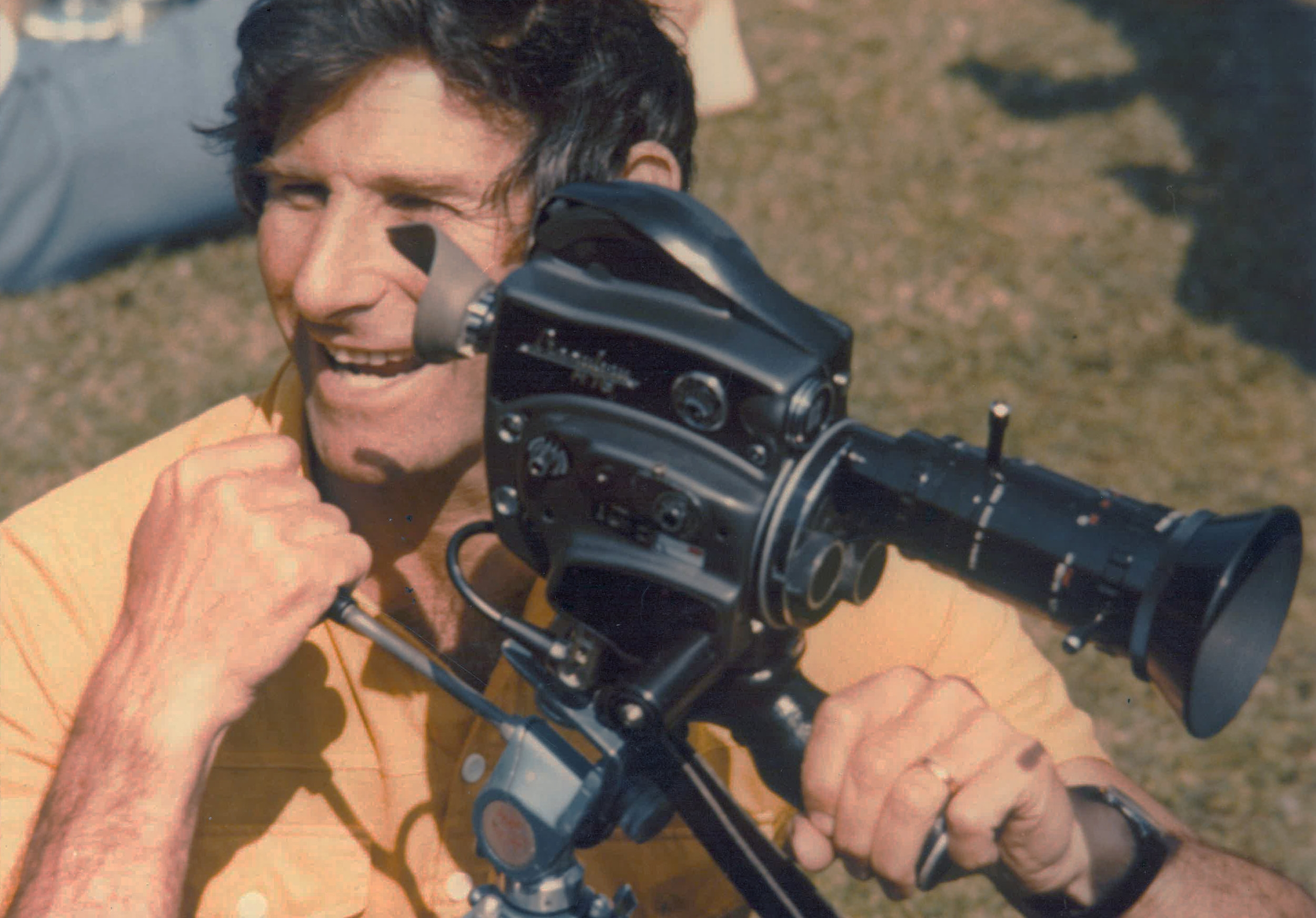 Michael Slowe in 1976 with 16mm Film Camera