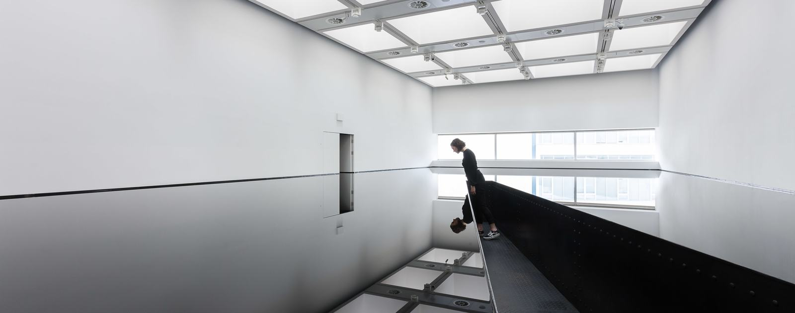 Richard Wilson's 20:50, 1987. Installation view at the Hayward. Image by  Mark Blower , via  South Bank Centre .