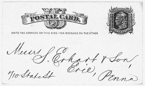 "Figure 2. There are two types of inscriptions used on the 1c Liberty postal card. The first, ""Nothing but the address can be placed on this side,"" appears on the 1875 versions of the card. ""Write the address on this side – the message on the other"" is found only on the 1881 card."