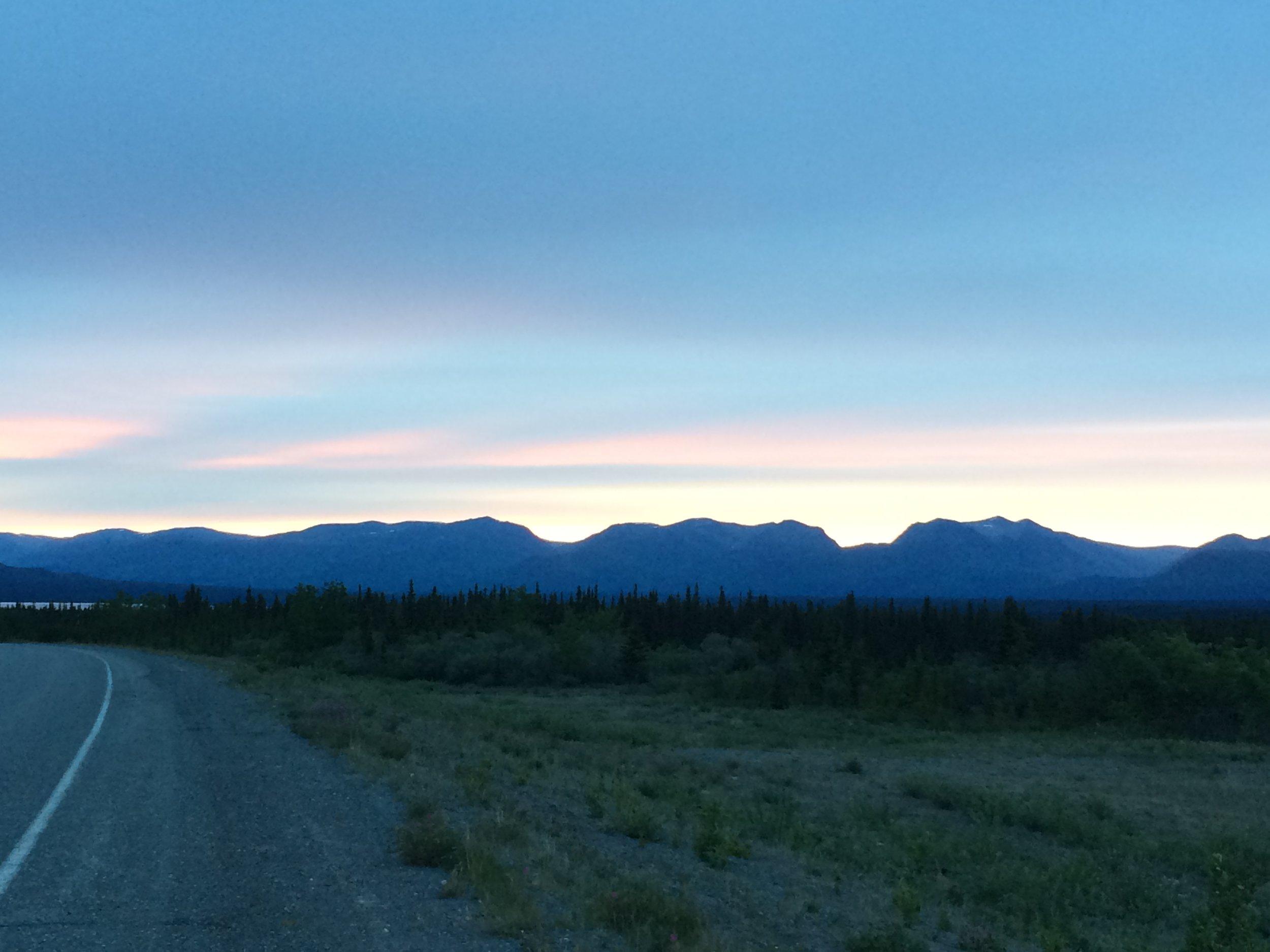 Picture taken at midnight (12 am) in Kluane. Land of the midnight sun.