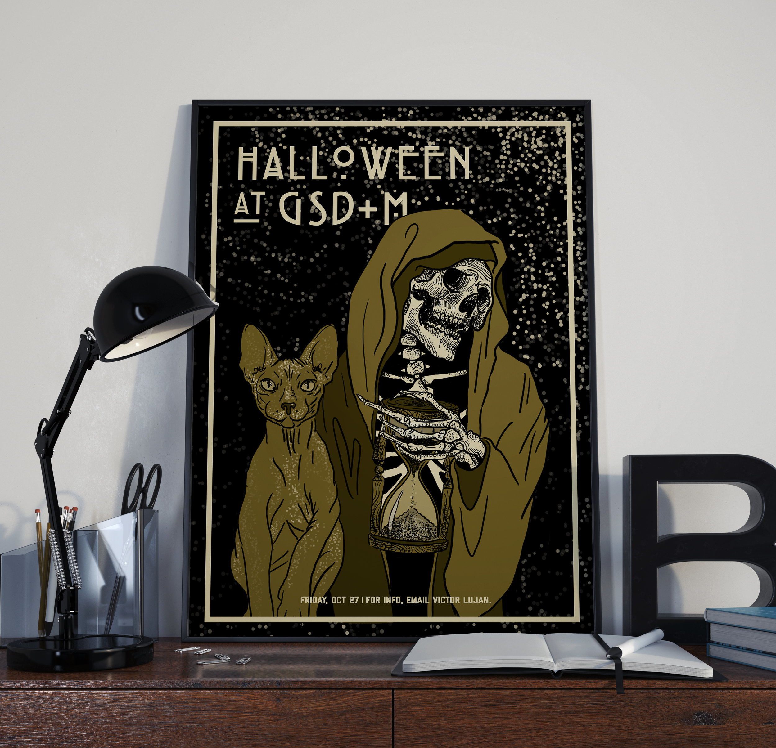 Above is a poster design I created for the GSD&M Halloween party. I created the concept, illustrated the poster on Procreate using my iPad, and then mounted the poster for display in our office.