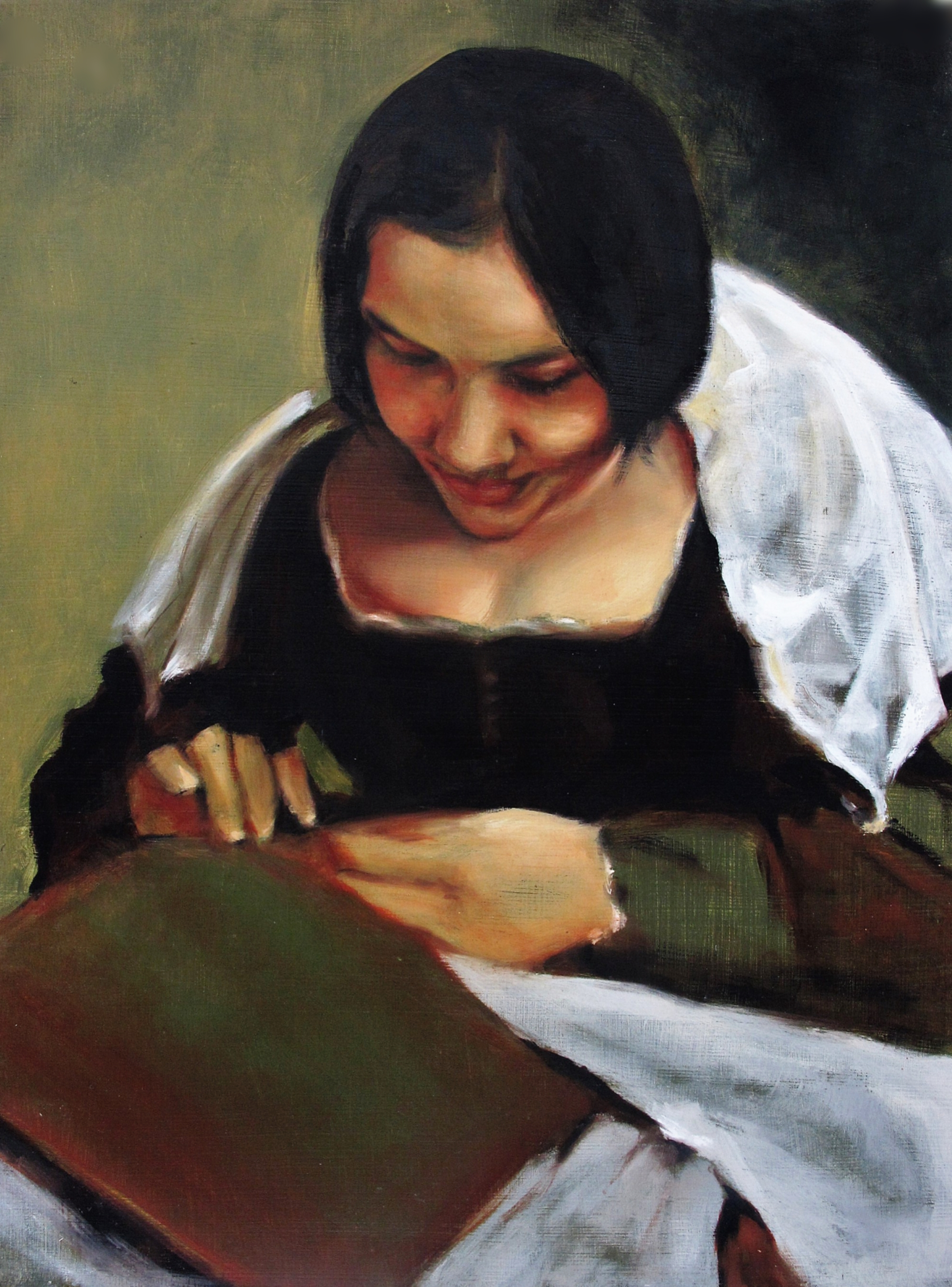"""La Costurera""- ""Seamstress""   $1,000  16.94 X 11.94""  Oil Painting on Panel"