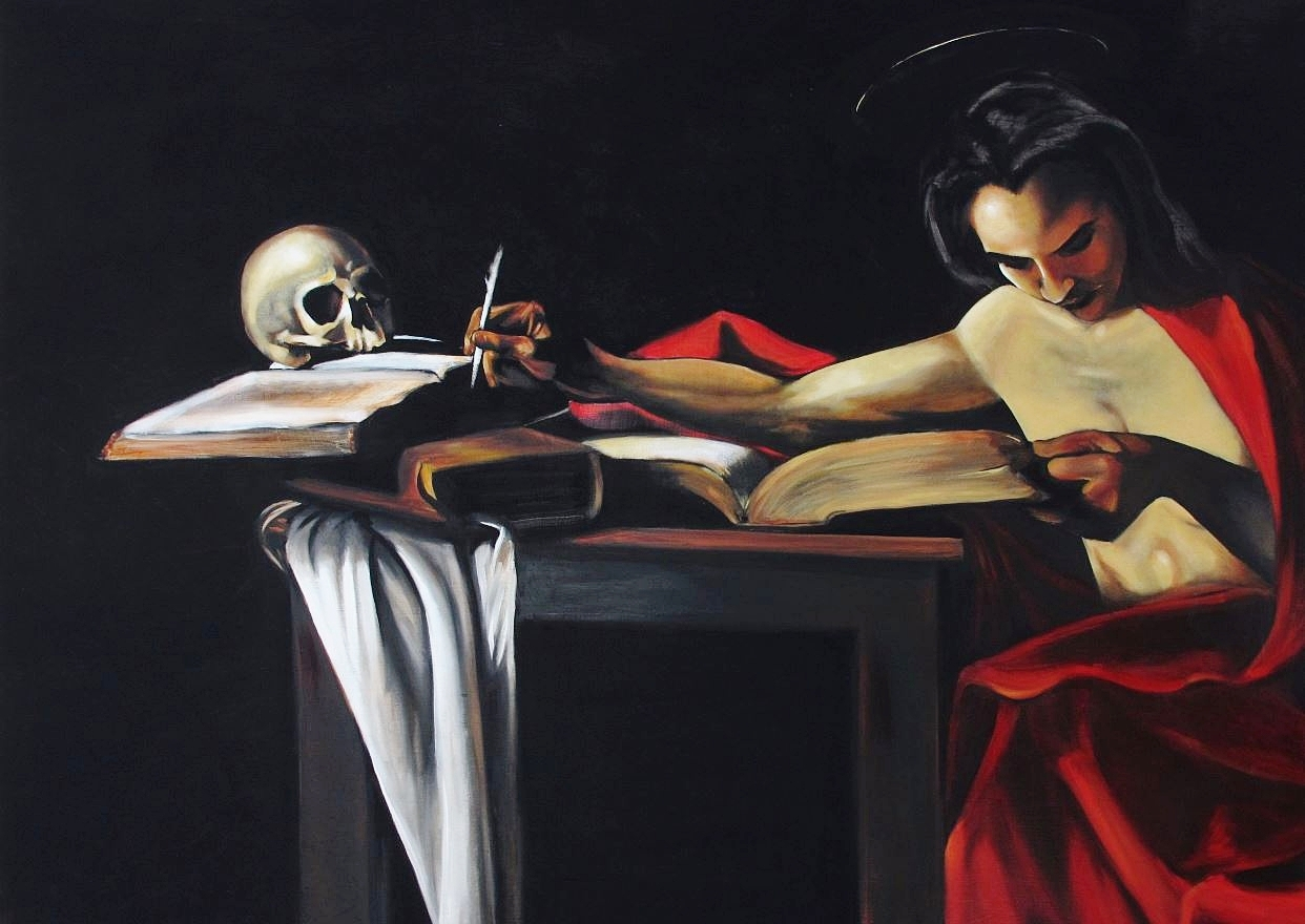 """Carina Escribiendo""- ""Carina Writing""   $20,000  39.94"" X 55.62""  Oil Painting on Panel"