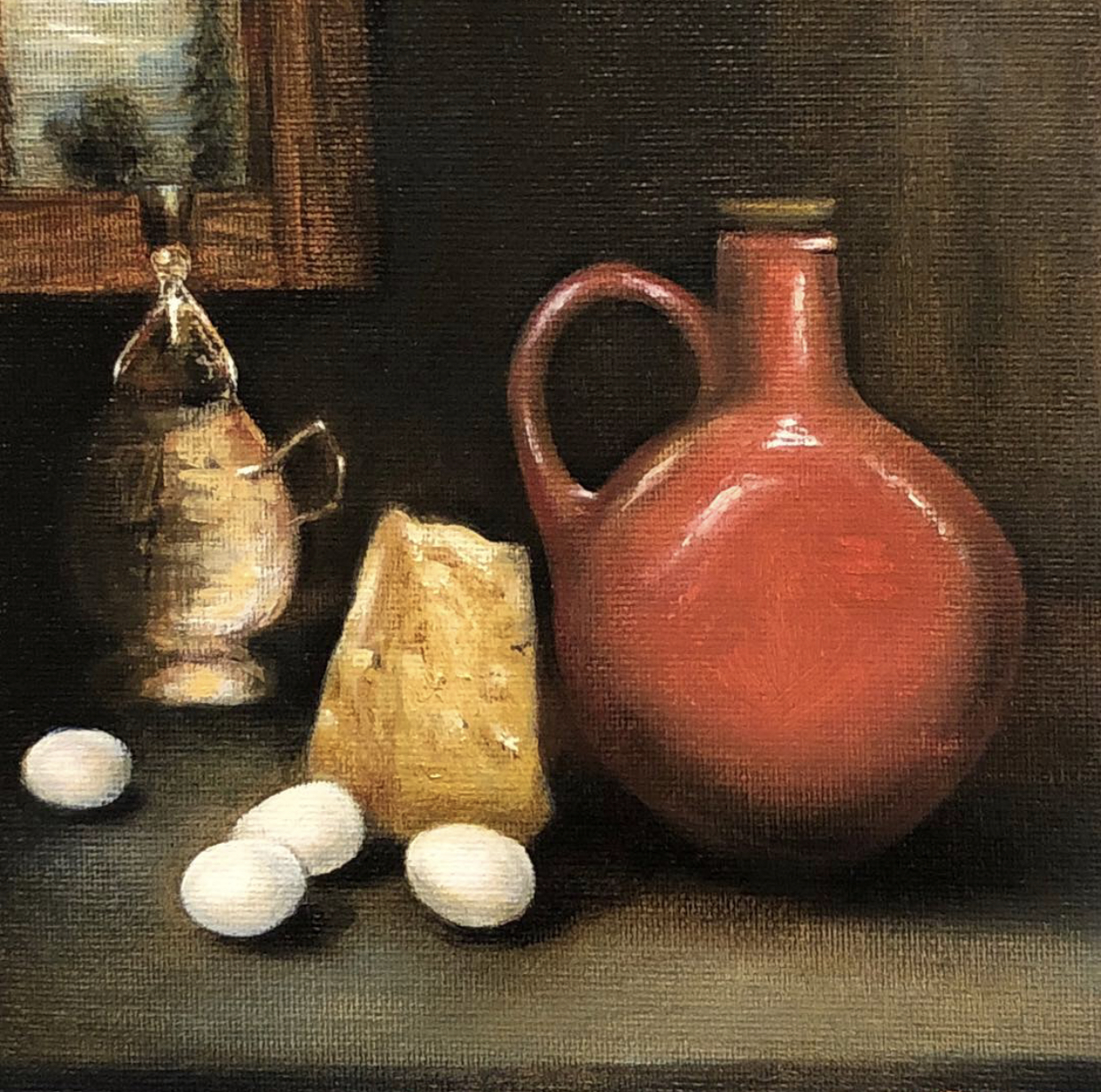"""Eggs & Cheese""   $300  Oil on Canvas Board  6"" X 6"""