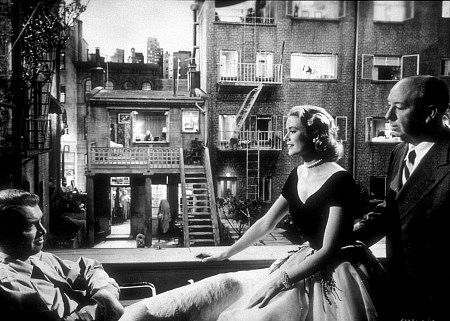 View out into the courtyard of Rear Window   Image courtesy of IMBD.com