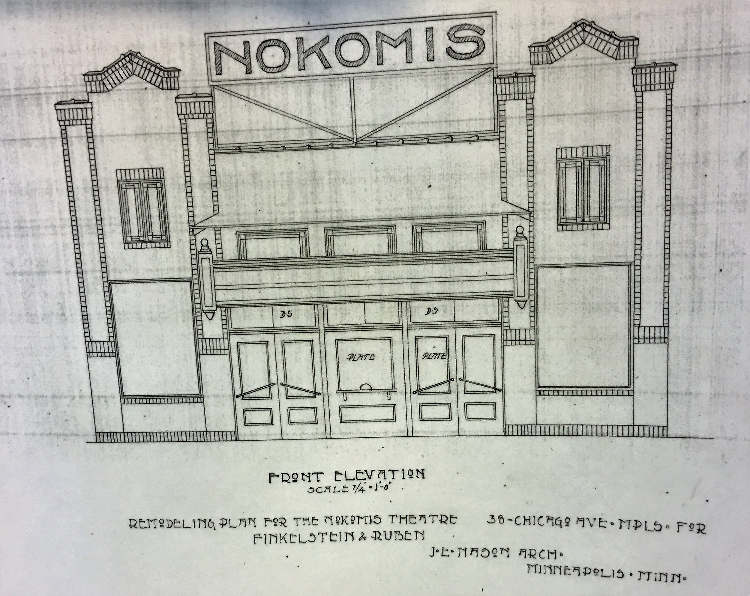Original Front Elevation by Finkelstein and Ruben   Photo of the print copies held by the building owners