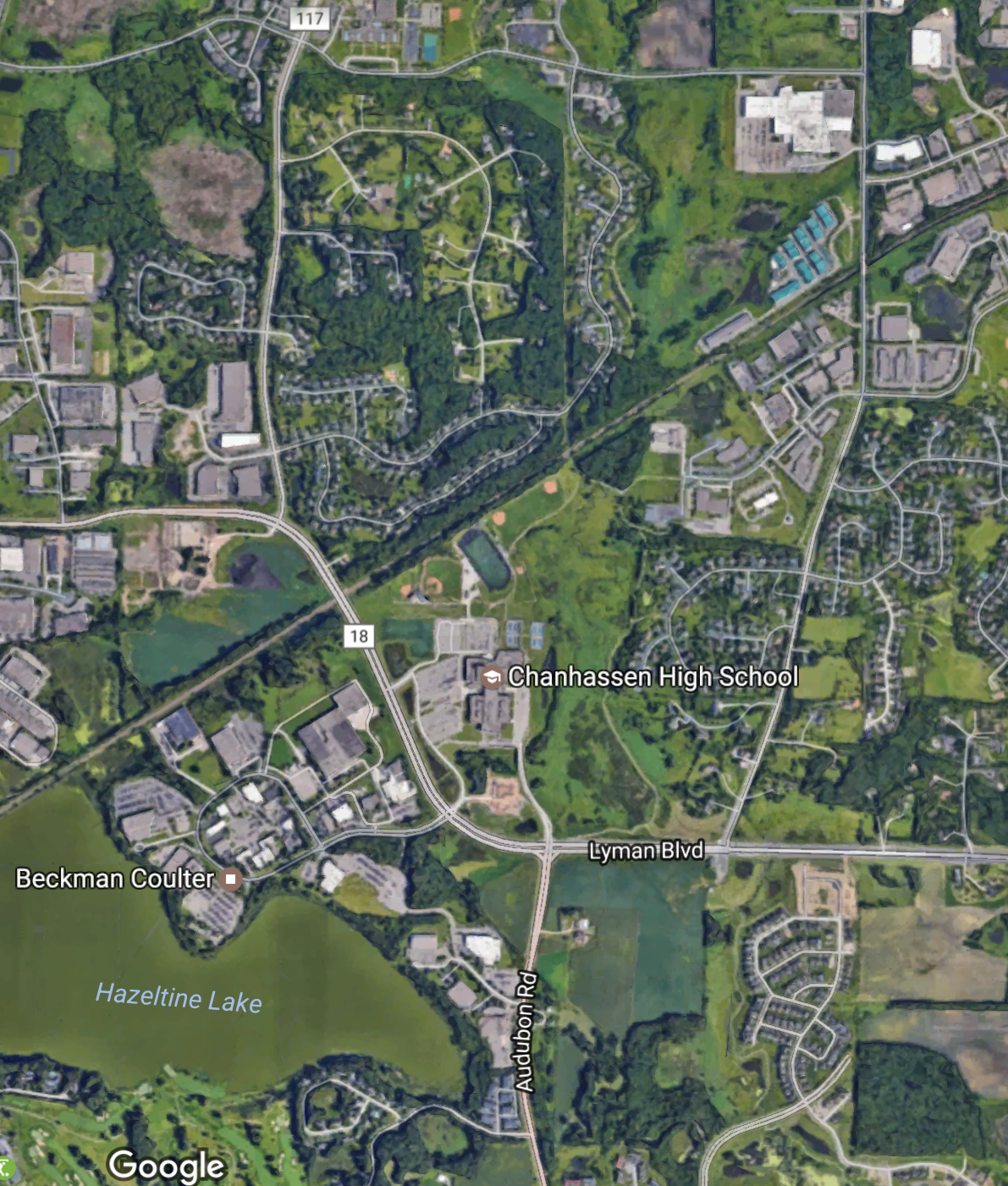 Aerial image of the race area in Chanhassen  Image from maps.google.com