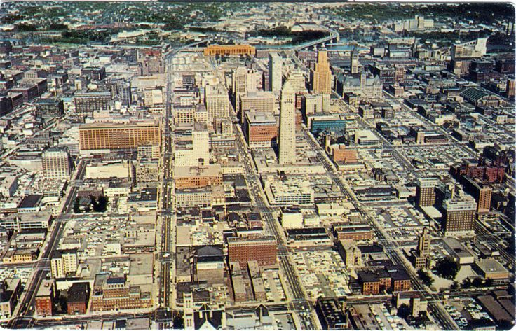 Downtown skyline of Minneapolis in the 1950's
