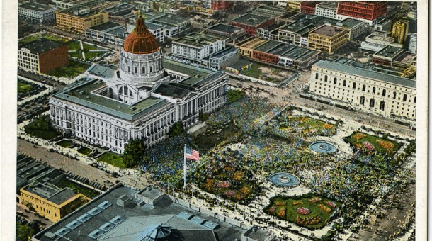Birds eye view of the Civic Center Plaza showing adjacent neoclassical buildings (image courtesy of SF Magazine)