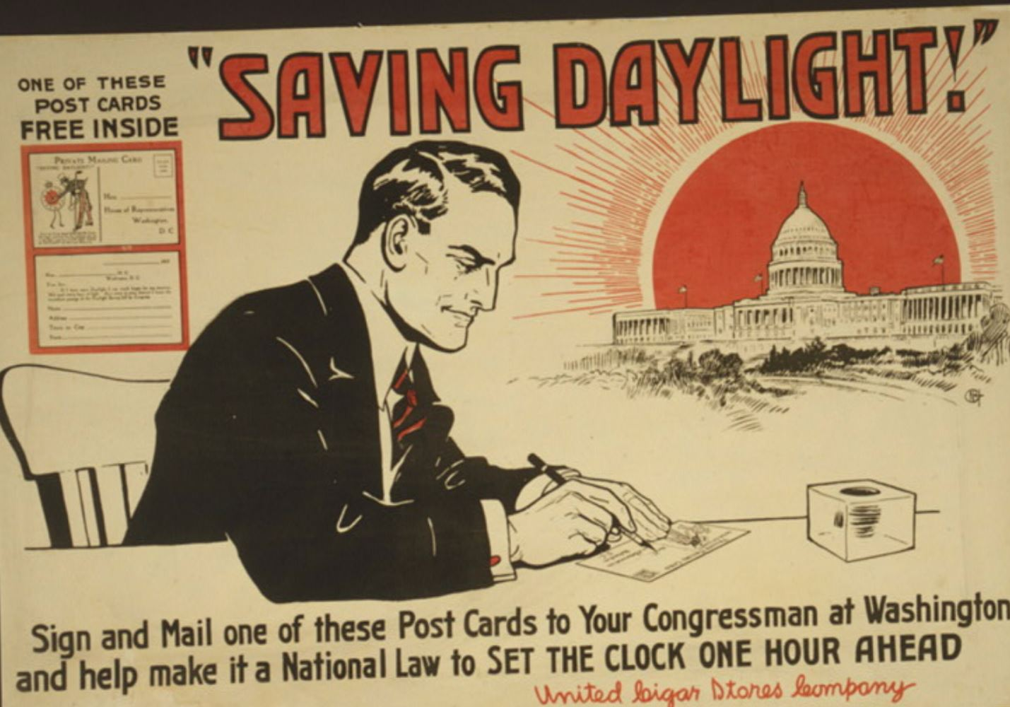 A postcard from 1918 promoting daylight saving time (image courtesy of the Library of Congress)