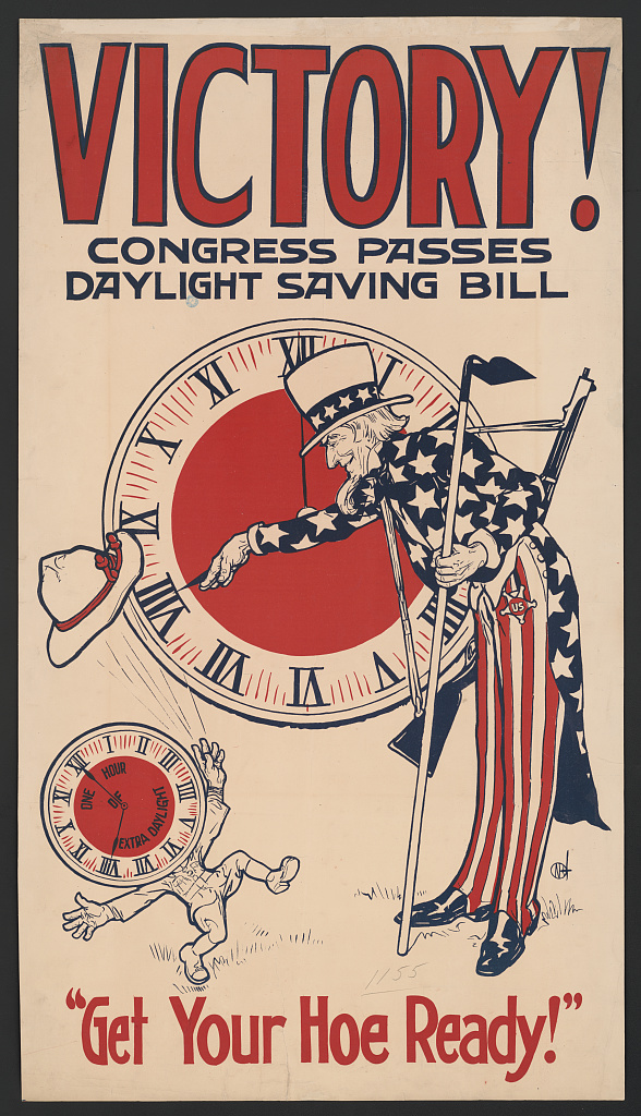 A brochure advertising the passage of daylight saving time in America in 1918 (image courtesy of the Library of Congress)