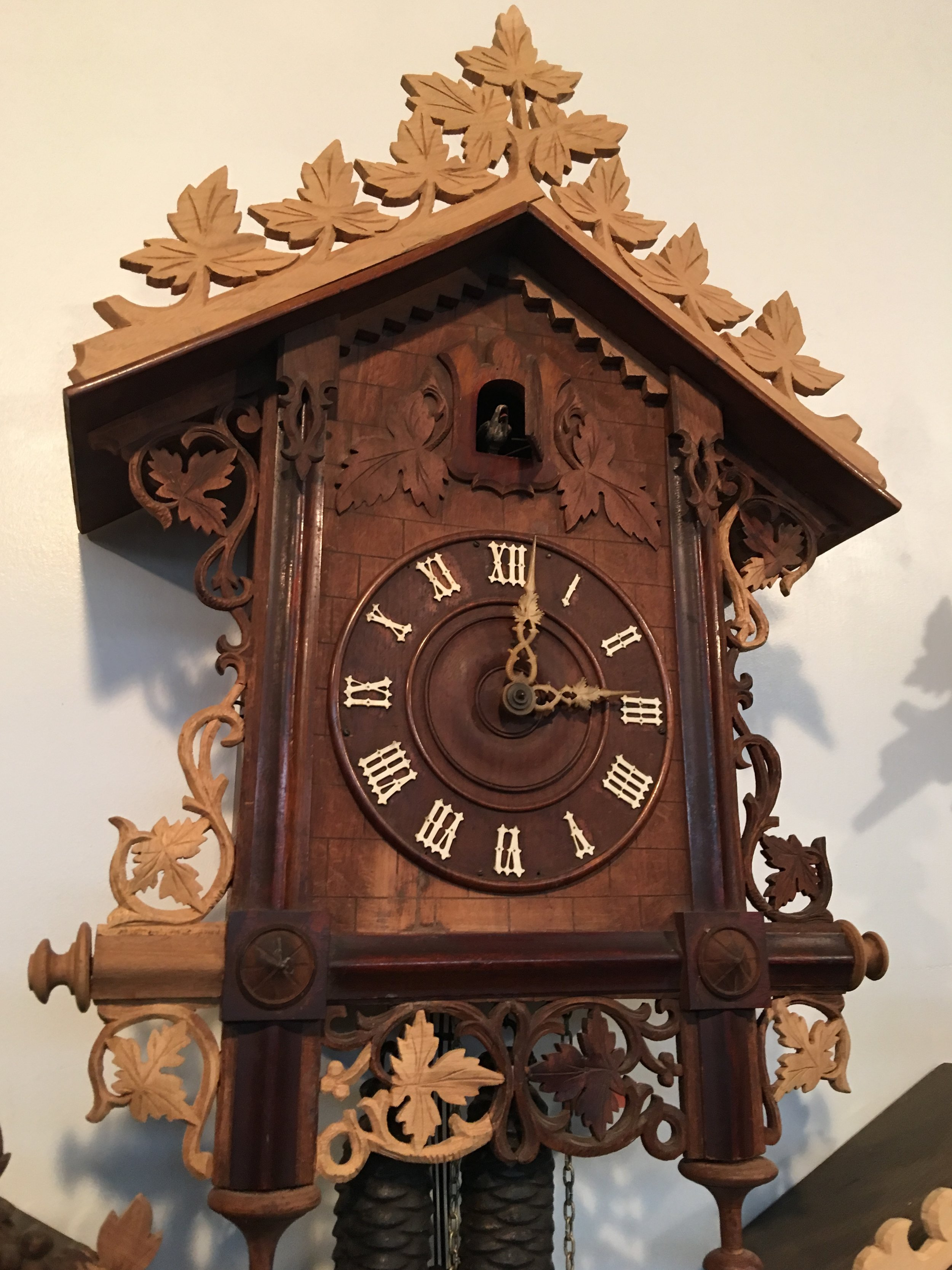 One of the many clocks repaired by Jim. The light oak color are the hand crafted replacement pieces.