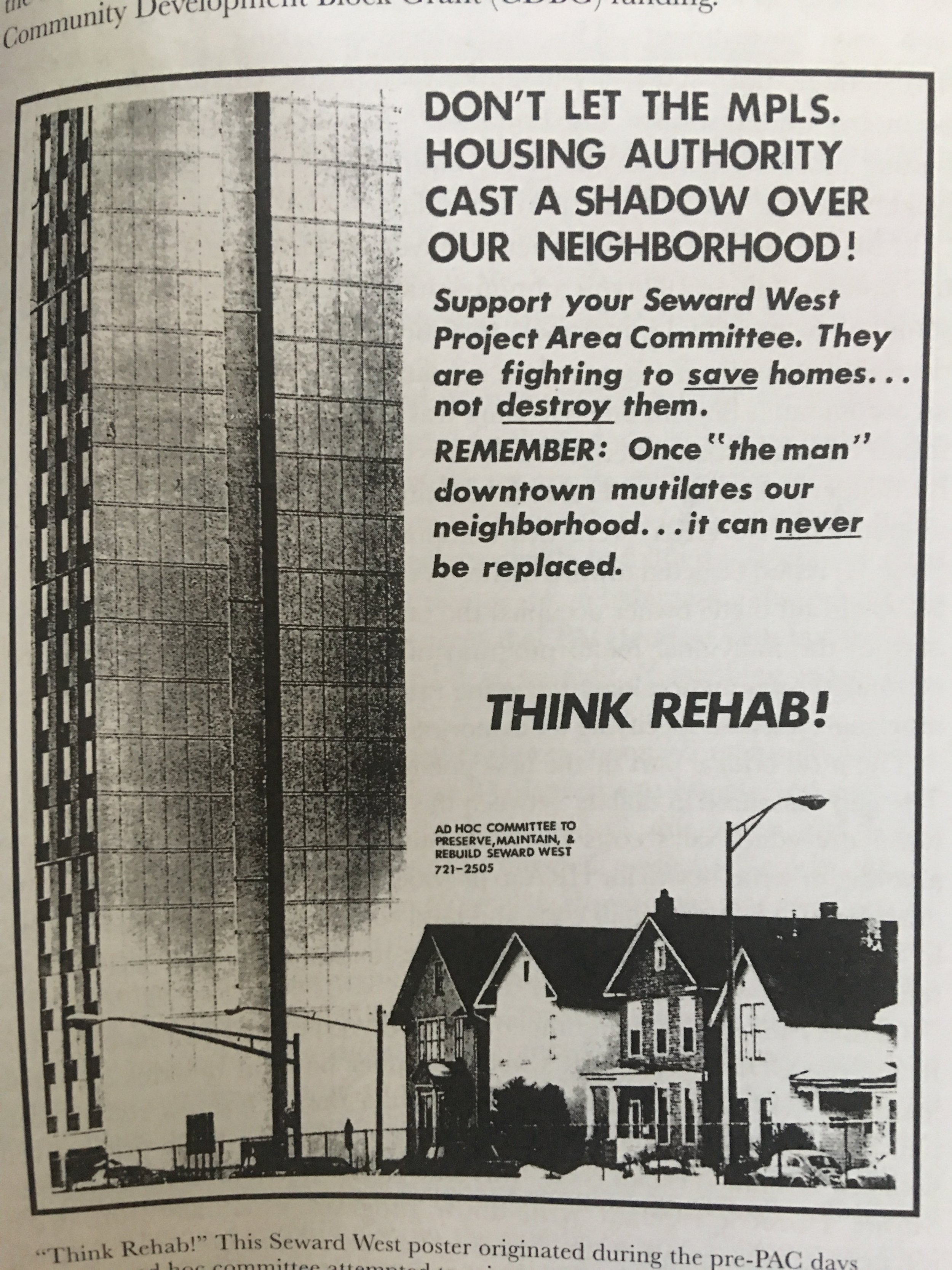 One of the flyers created to fight demolition of the neighborhood (image from the book)