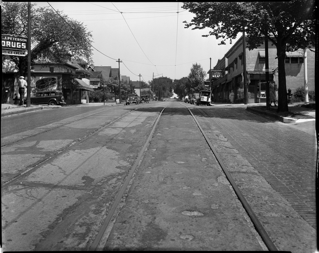 22nd Avenue Northeast and Johnson Street in 1936. Not much has changed over the last 82 years other than the type of businesses and loss of the trolley system (photo courtesy of the Minnesota Historical Society)