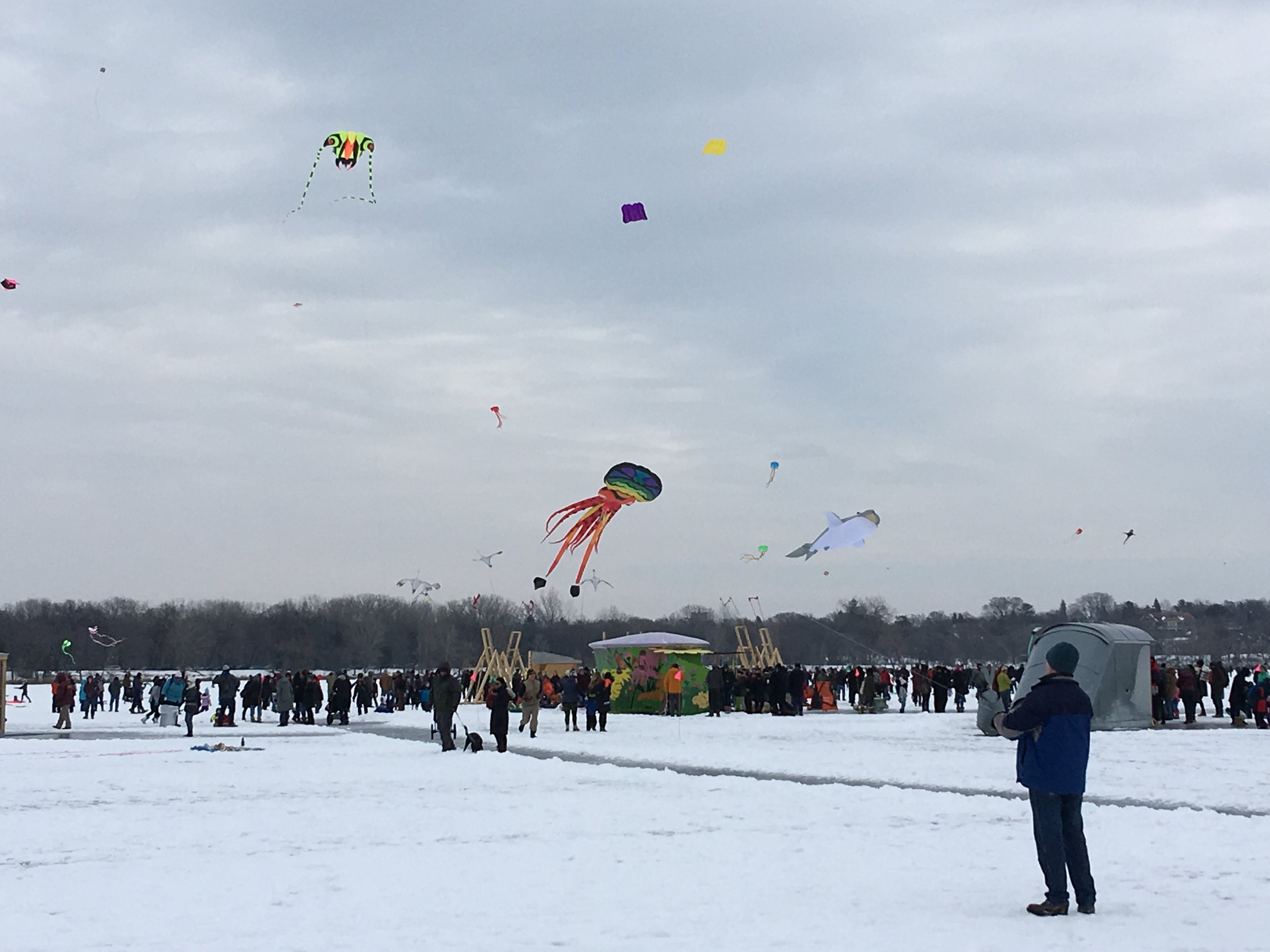The kites and crowds gathered on Lake Harriet for the Kite Festival