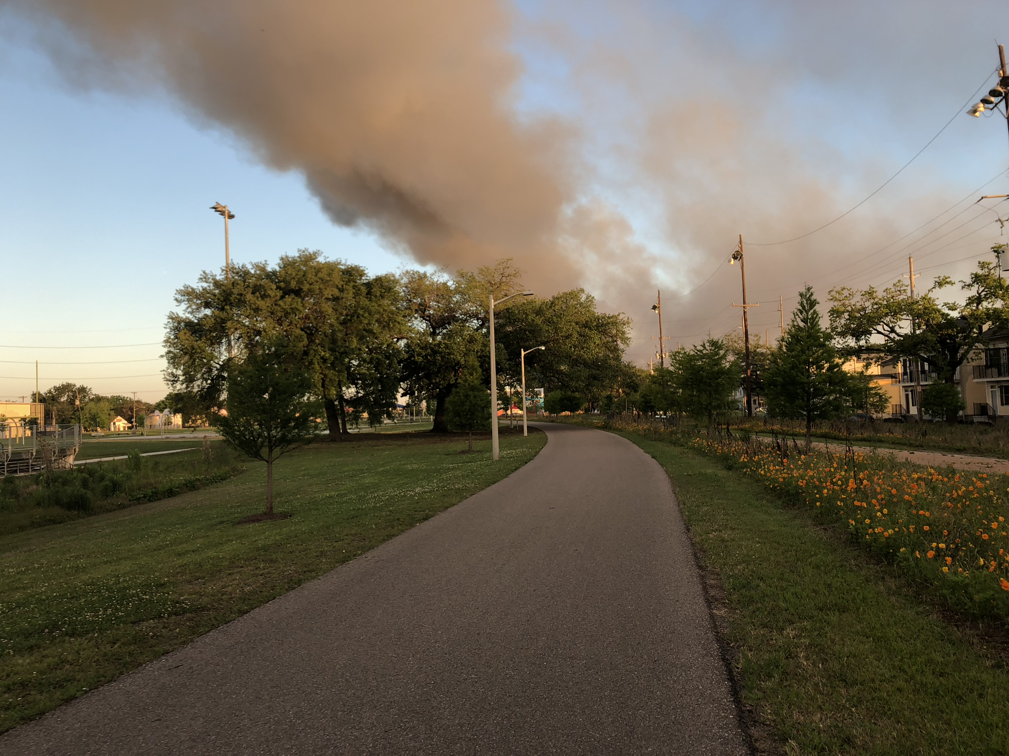 Morning run on Lafayette Greenway. The smoke was coming from a second hand furniture building that burned that morning