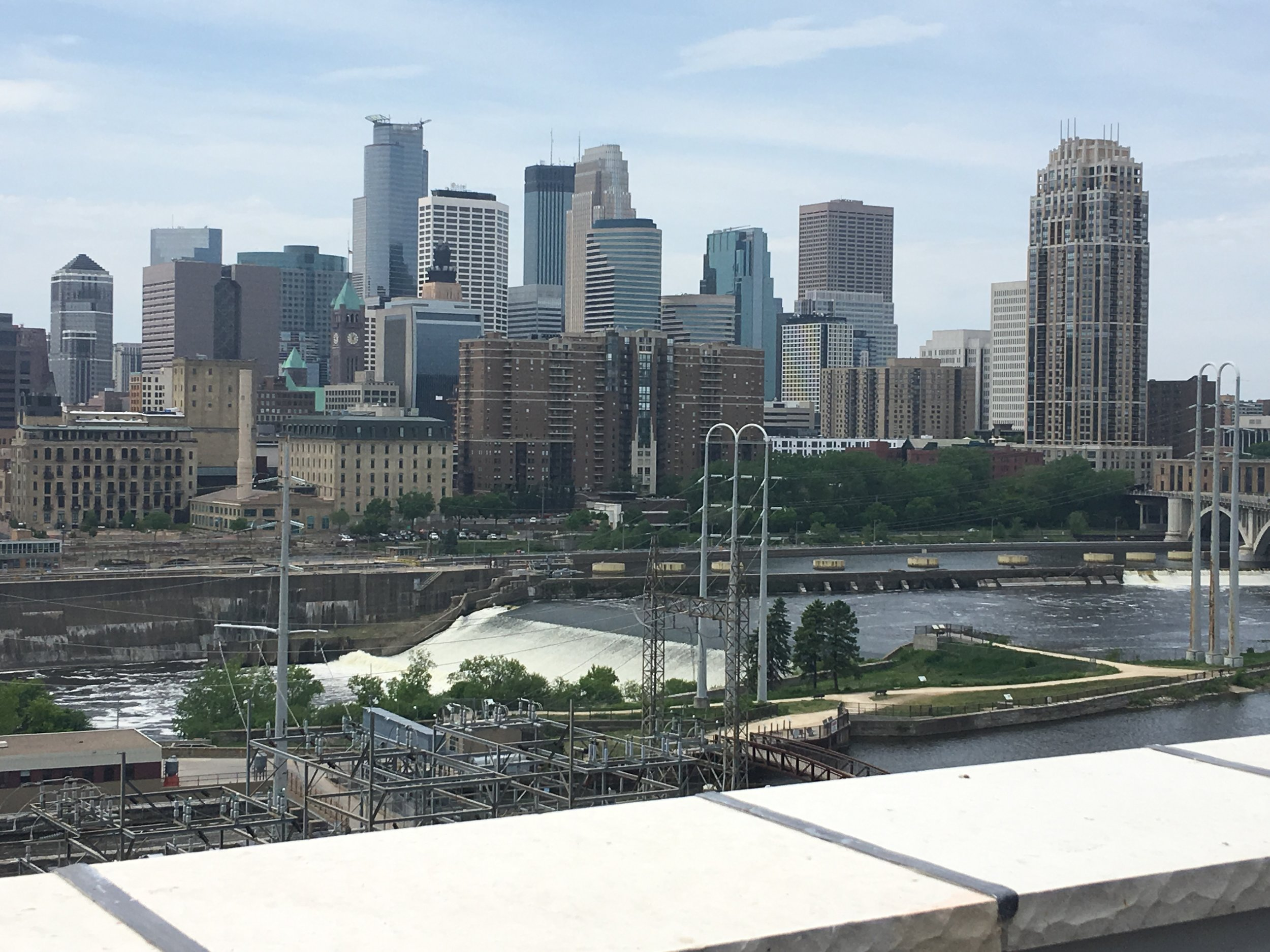 Beautiful skyline of Minneapolis as seen from the Mill City Museum deck