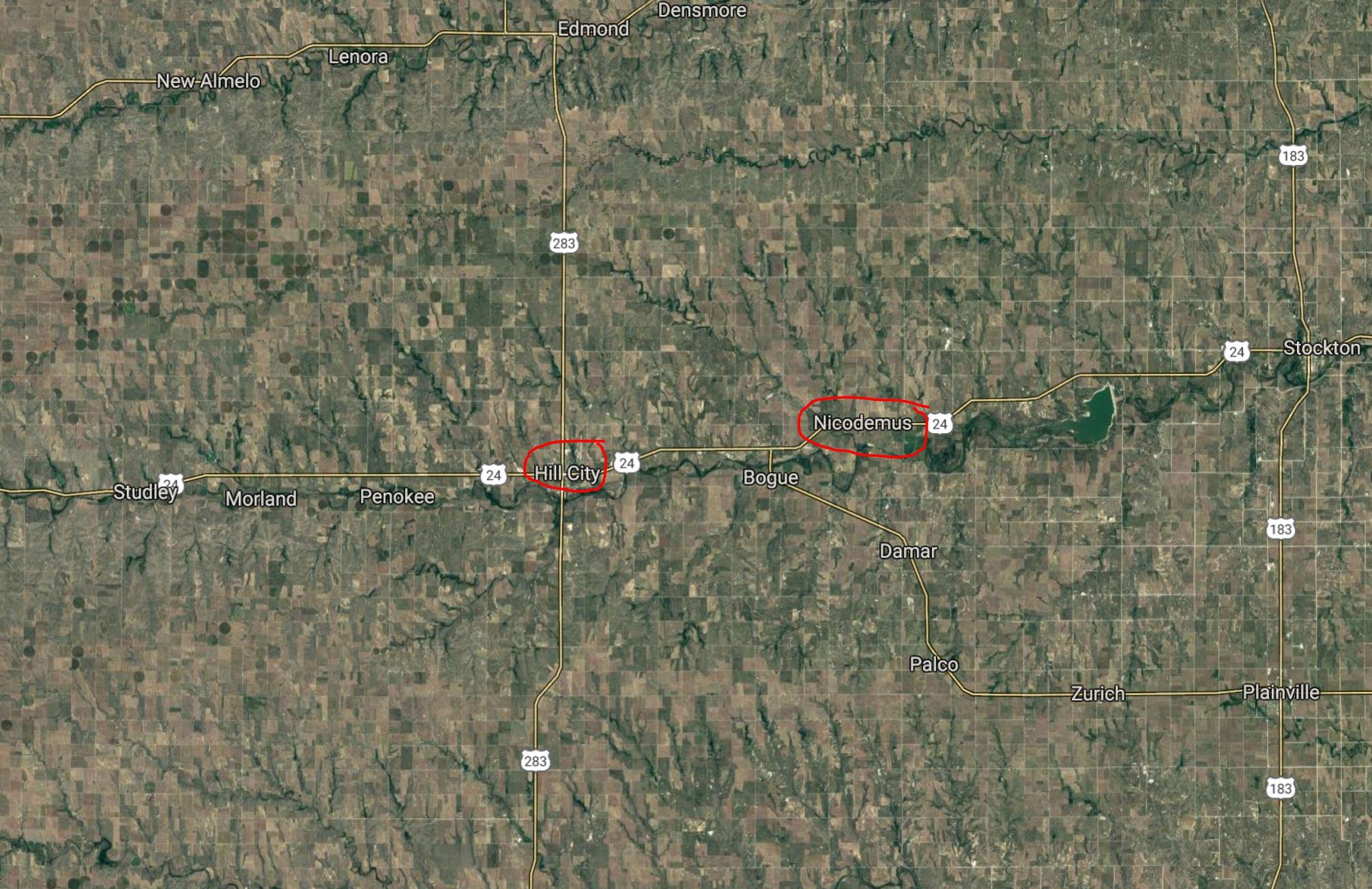 Location of both Hill City and Nicodemus in northwest Kansas (image courtesy of maps.google.com)