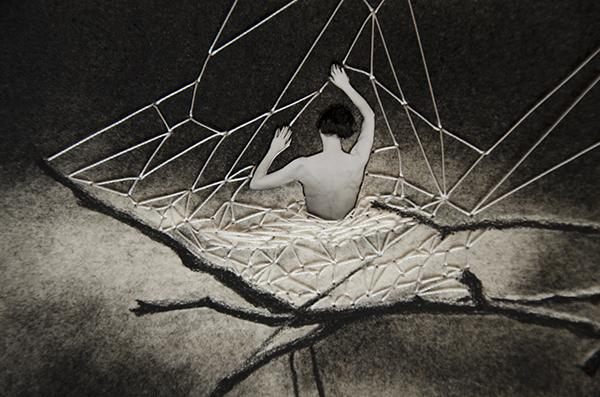 """Grasp (detail) : charcoal, thread, photograph. Image: 7"""" wide by 10.5"""" high."""