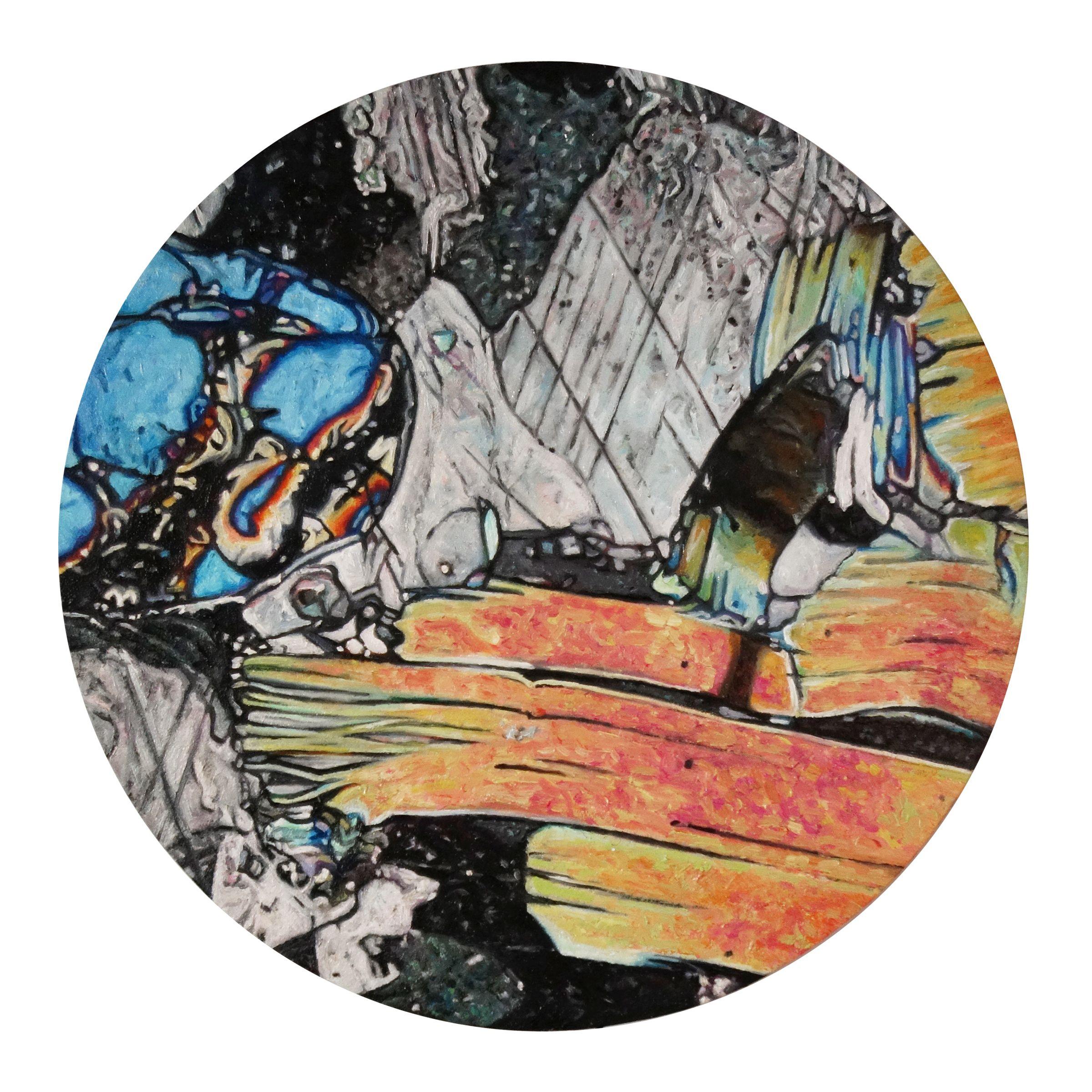 """Jennifer Bock-Nelson,  Phlogopite , oil on panel, 8"""" diameter, 2017"""